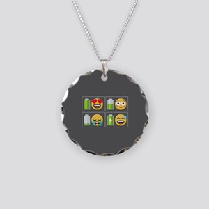 Emoji Phone Battery Necklace Circle Charm