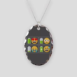 Emoji Phone Battery Necklace Oval Charm