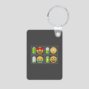 Emoji Phone Battery Aluminum Photo Keychain