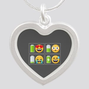 Emoji Phone Battery Silver Heart Necklace