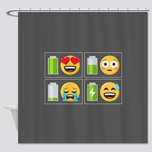 Emoji Phone Battery Shower Curtain