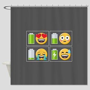 Emoji Phone Battery Shower Curtain
