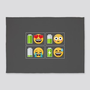 Emoji Phone Battery 5'x7'Area Rug