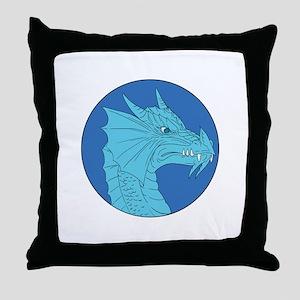 Blue Dragon Head Angry Circle Drawing Throw Pillow