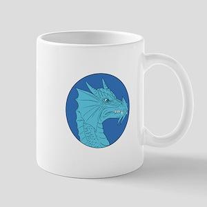 Blue Dragon Head Angry Circle Drawing Mugs