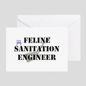 Feline Sanitation Engineer Greeting Cards