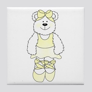 YELLOW BALLERINA BEAR Tile Coaster