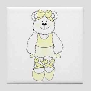 YELLOW BALLERINA BEAR Tile Coaster
