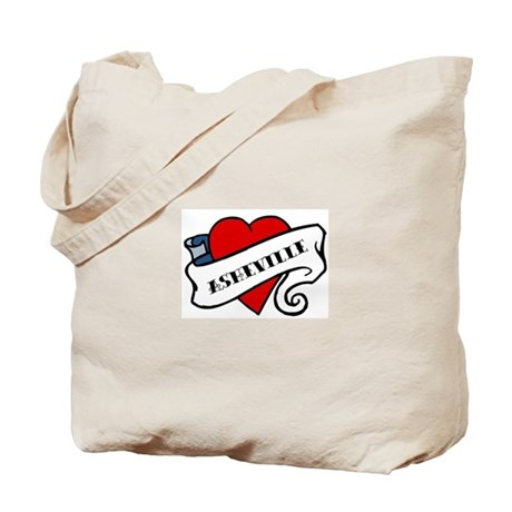 Asheville tattoo heart Tote Bag