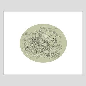 Tall Ship Turbulent Sea Serpents Oval Drawing Post