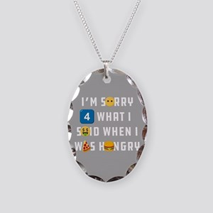 Emoji Sorry When Hungry Necklace Oval Charm