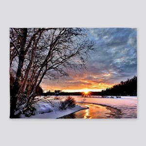 Winter Landscape Along Frozen River 5'x7'Area Rug