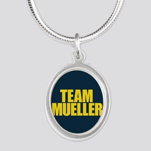 Team Mueller Silver Oval Necklace