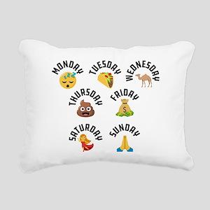 Emoji Week Days Rectangular Canvas Pillow