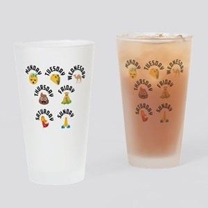 Emoji Week Days Drinking Glass