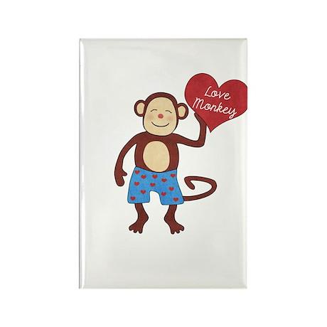 Love Monkey Boy Heart Rectangle Magnet