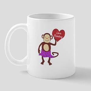 Love Monkey Girl Heart Mug