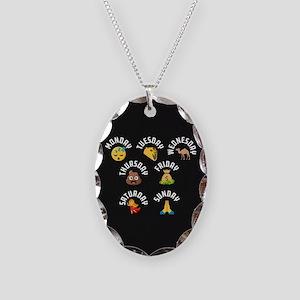 Emoji Week Days Necklace Oval Charm