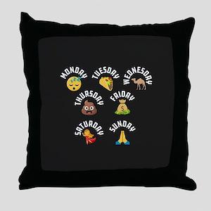 Emoji Week Days Throw Pillow