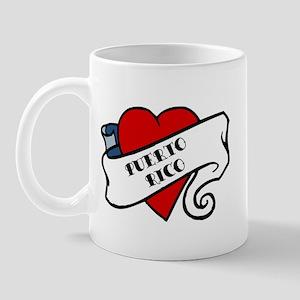 Puerto Rico tattoo heart Mug