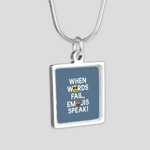 Emoji Words Fail Emojis Sp Silver Square Necklace