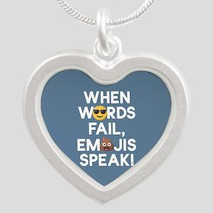 Emoji Words Fail Emojis Spea Silver Heart Necklace