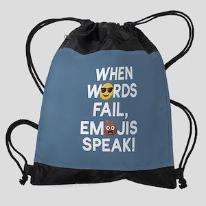 Emoji Words Fail Emojis Speak Drawstring Bag