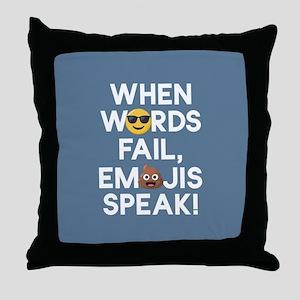 Emoji Words Fail Emojis Speak Throw Pillow