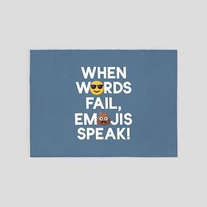 Emoji Words Fail Emojis Speak 5'x7'Area Rug
