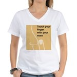 Touch Your Finger with Your N Women's V-Neck T-Shi
