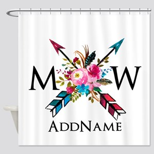 Boho Chic Arrow Monogram Shower Curtain