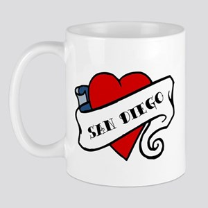 San Diego tattoo heart Mug