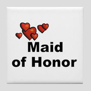Hearts Maid of Honor Tile Coaster
