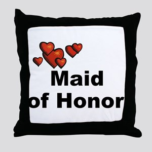 Hearts Maid of Honor Throw Pillow