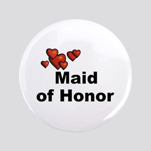 """Hearts Maid of Honor 3.5"""" Button"""