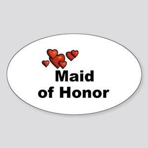 Hearts Maid of Honor Oval Sticker