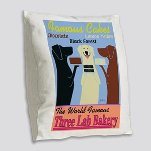 Three Lab Bakery Burlap Throw Pillow
