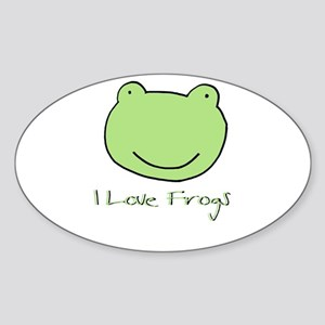 I Love Frogs Oval Sticker