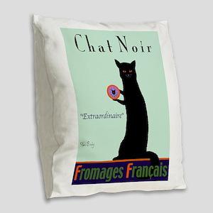 Chat Noir (Black Cat) Burlap Throw Pillow