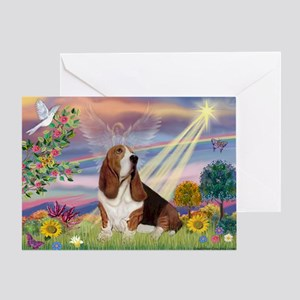 Cloud Angel & Basset Greeting Card