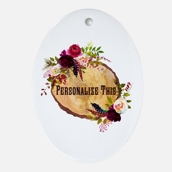 Wood Slice Floral Personalized Oval Ornament