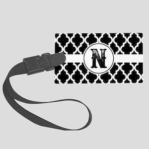 Black Monogram: Letter N Large Luggage Tag