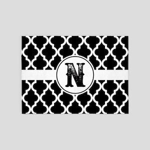 Black Monogram: Letter N 5'x7'Area Rug