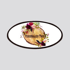 Wood Slice Floral Personalized Patch