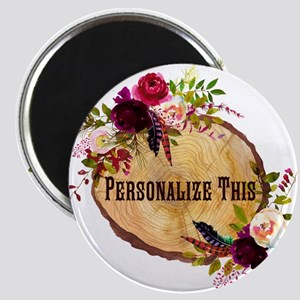 Wood Slice Floral Personalized Magnets