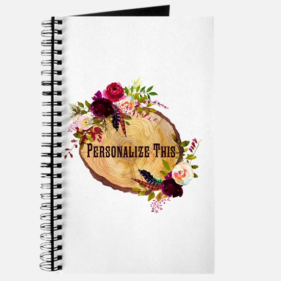 Wood Slice Floral Personalized Journal