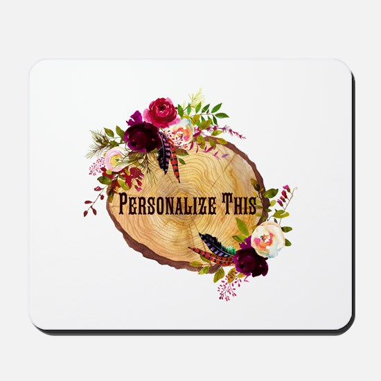 Wood Slice Floral Personalized Mousepad