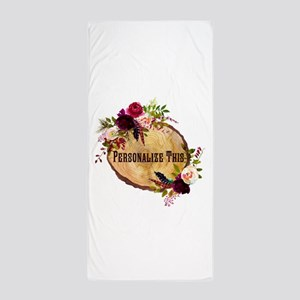 Wood Slice Floral Personalized Beach Towel