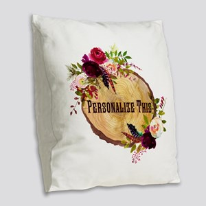 Wood Slice Floral Personalized Burlap Throw Pillow