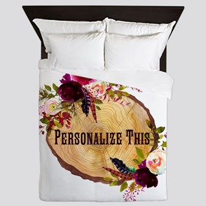Wood Slice Floral Personalized Queen Duvet